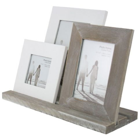 3 Rustic Wooden Photo Frames on Stand